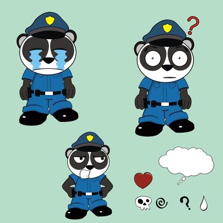 panda bear police cartoon set in vector format Vector