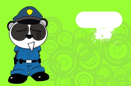 panda bear cop cartoon background in vector format very easy to edit Vector