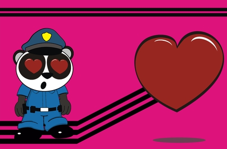 panda bear cop cartoon background in vector format very easy to edit