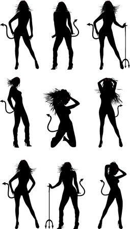devil girl: devil girl silhouette halloween set in vector format Illustration