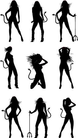 devil girl silhouette halloween set in vector format Stock Illustratie