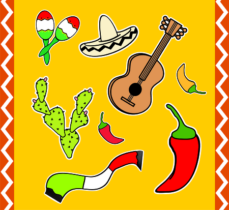 mexican cartoon elemments pack in vector format very easy to edit