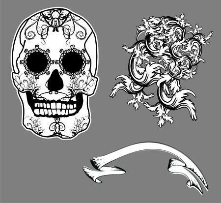 メキシコ スカル floriture セットをベクトル形式で