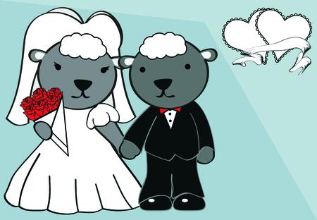 sheep married cartoon background in vector format Vector