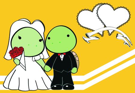 turtle married cartoon background in vector format Ilustração