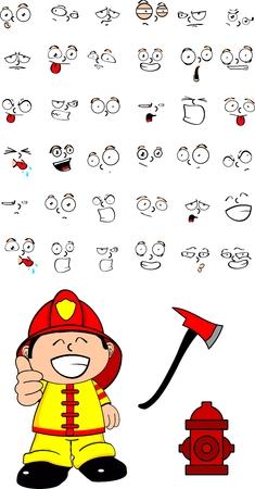 firefighter kid cartoon set in vector format  Vector