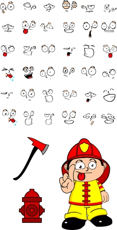 firefighter kid cartoon set in vector format very easy to edit