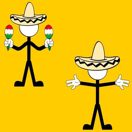 メキシコのピクトグラム漫画セットをベクトル形式で  イラスト・ベクター素材