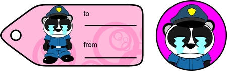 panda bear cop cartoon sticker in vector format very easy to edit Vector