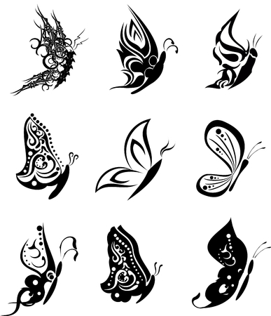 butterfly tatto set pack stickers in vector format
