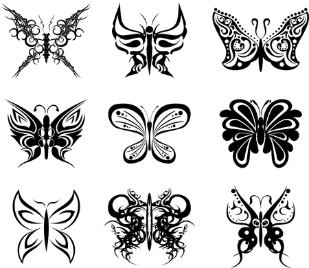 butterfly tatto set pack stickers in vector format Vector