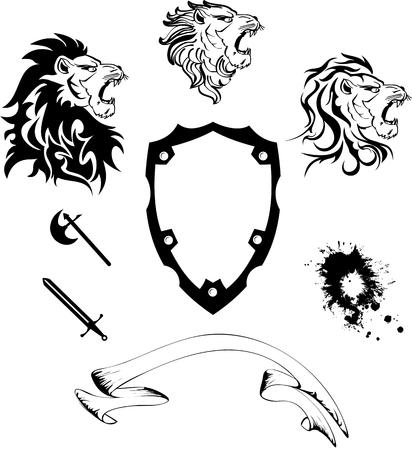 white coat: heraldic lion head coat of arms set