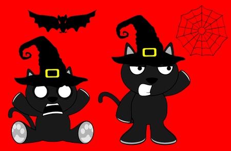 halloween cute black cat witch cartoon set