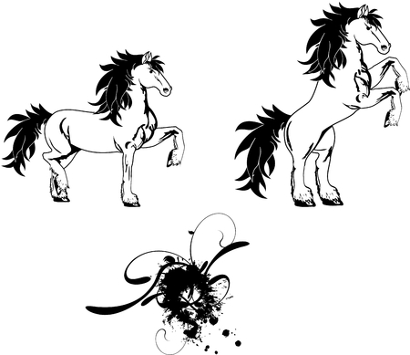 vectro: horse sticker tattoo set in vectro format cery easy to edit Illustration