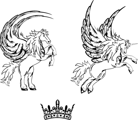 vectro: pegasus horse sticker tattoo set in vectro format cery easy to edit