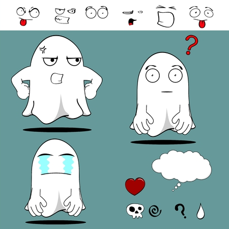 ghost funny cartoon set in vector format very easy to edit