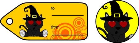 할로윈 검은 고양이 선물 카드 스티커 벡터 형식으로 편집하는 것은 매우 쉬운 일러스트