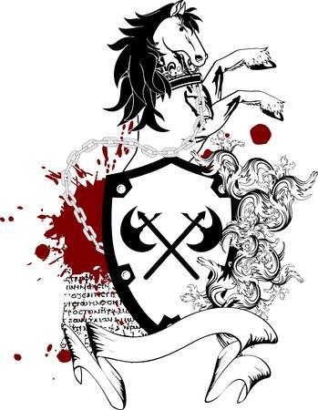 heraldic horse coat of arms crest in vector format very easy to edit Vector