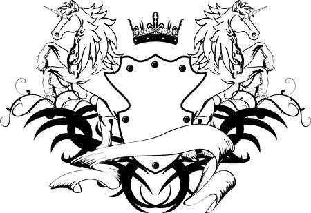 heraldic unicorn coat of arms crest in vector format very easy to edit Vector