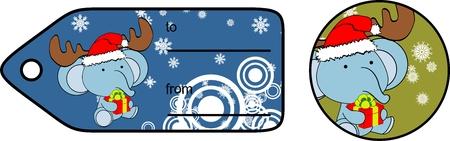 elephant baby cartoon xmas gift card  in vector format very easy to edit Vector