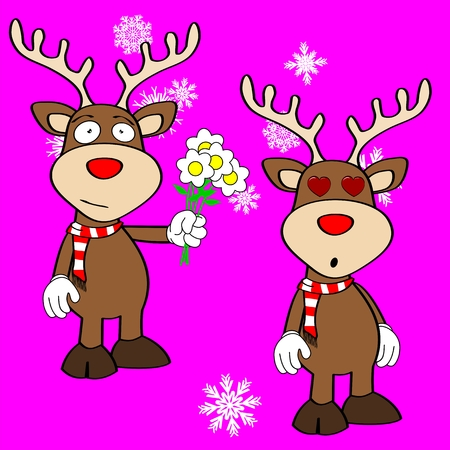 inlove: xmas reindeer cartoon expression set in vector format very easy to edit