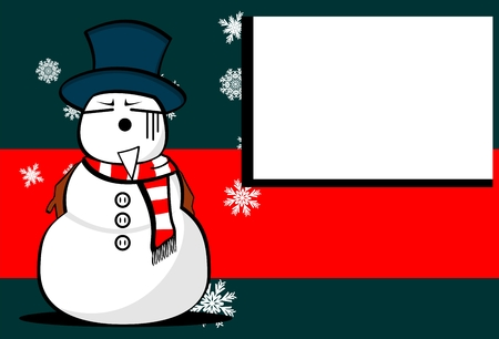 snow man: snow man cartoon xmas background card in vector format very easy to edit