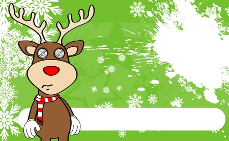 xmas reindeer cartoon expression background in vector format very easy to edit