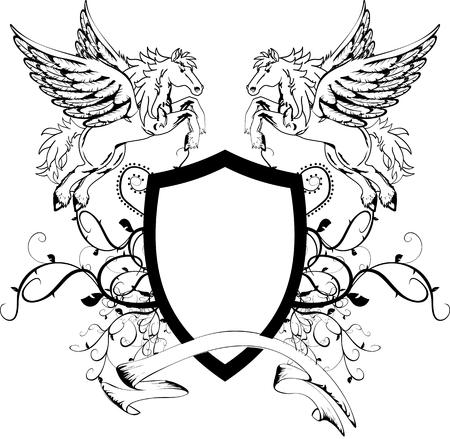 heraldic pegasus coat of arms crest shield in vector format very easy to edit