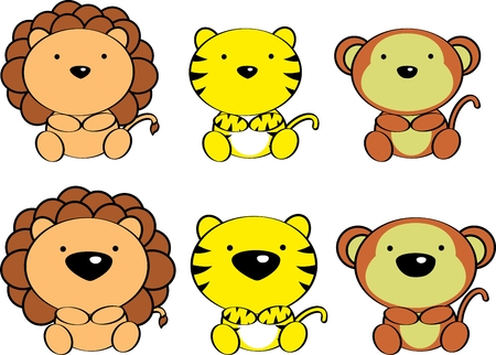 cute baby animals cartoon set in vector format very easy to edit Vector