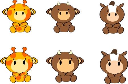 cute baby animals cartoon set in vector format very easy to edit Vector