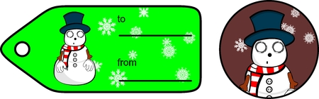 giftcard: snowman cartoon xmas giftcard sticker in vector format very easy to edit