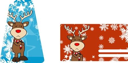 xmas reindeer cartoon giftcard in vector fromat very easy to edit Vector