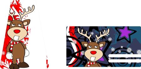 giftcard: xmas reindeer cartoon giftcard in vector fromat very easy to edit