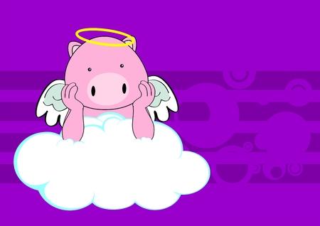 pig baby cute angel cartoon background in vector format Vector