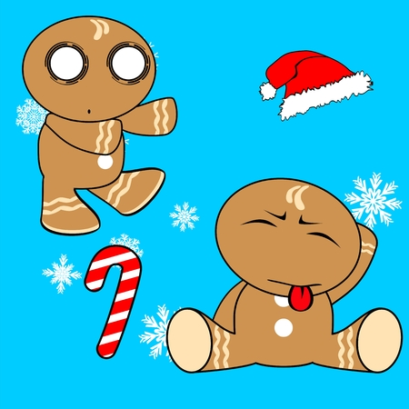 gingerman cartoon xmas set in vector format very easy to edit Illustration