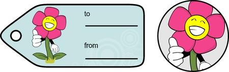 giftcard: flower cartoon giftcard sticker in vector format very easy to edit