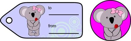 giftcard: sweet baby koala girl rose love giftcard set in vector format very easy to edit