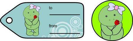 infantile: sweet baby turtle girl rose love giftcard set in vector format very easy to edit