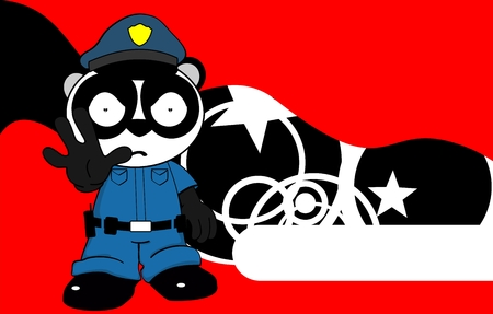 angry teddy: panda bear cop cartoon background card in vector format very easy to edit