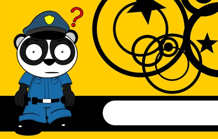 patrolman: panda bear cop cartoon background card in vector format very easy to edit