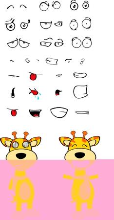 giraffe cartoon expression in vector fomat very easy to edit Vector