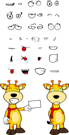 giraffe cartoon expression in vector fomat very easy to edit