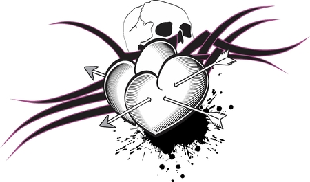 heart arrows tattoo in vector format very easy to edit