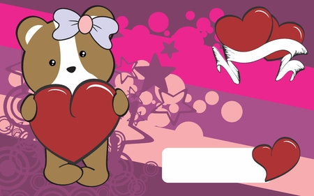 cute hamster girl cartoon valentine backgorund in vector format