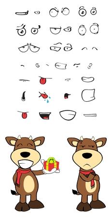 Stier lustigen Comic-Ausdruck im Vektor formatvery einfach zu bearbeiten eingestellt Standard-Bild - 36368852