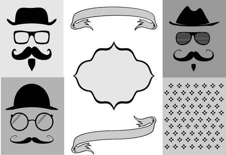 style: hipsthipster moustache style elemments set in vector format very easy to edit Illustration