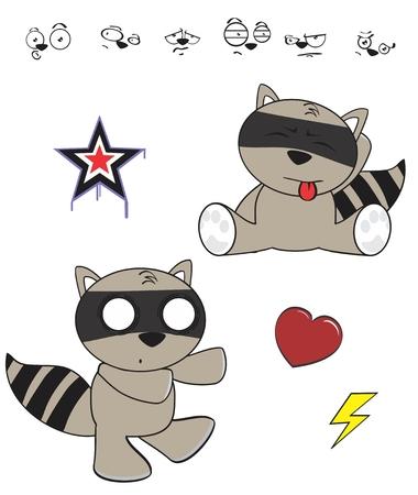 funny baby: raccoon baby cartoon funny cartoon set in vector format Illustration