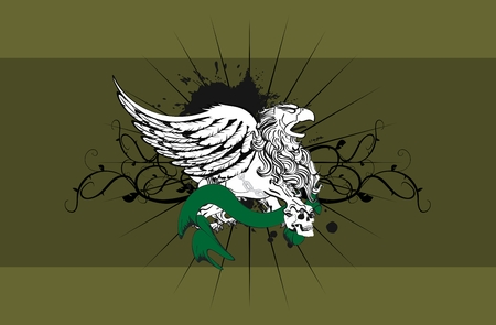 gryphon: heraldic gryphon coat of arms background in vector format very easy to edit Illustration
