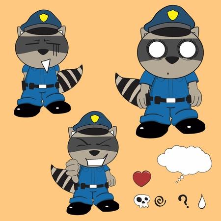 patrolman: raccoon kid policeman cartoon set in vector format very easy to edit