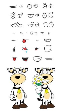 Kuh-Cartoon Ausdrücke im Vektor-Format sehr einfach zu bearbeiten eingestellt Standard-Bild - 37841602